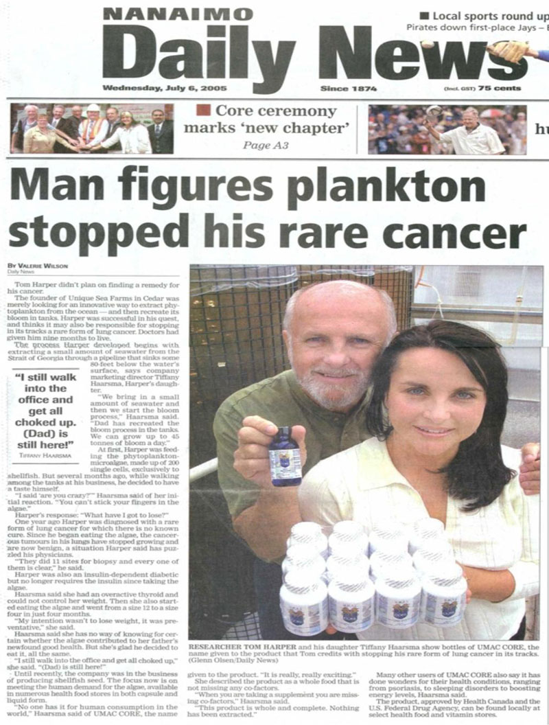 温哥华2005年报纸的报道一个男人认为UMAC阻止了他的癌症