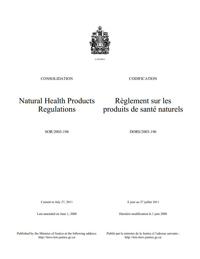 加拿大天然保健品条例Natural Health Products Regulations文档下载